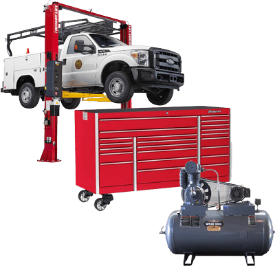 truck lift with tool chest and air compressor